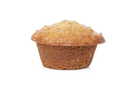 A fresh bran muffin against a white background photo