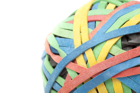 rubberband: A colorful rubber band ball against a white background