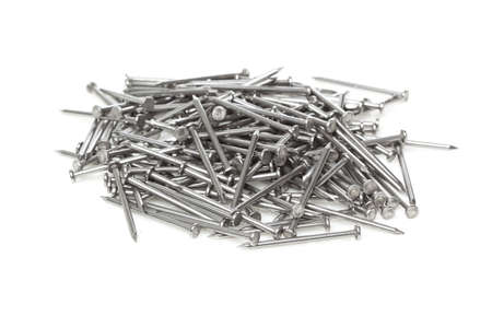 nails: Silver Steel nails made for construction Stock Photo