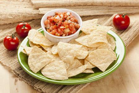 corn tortillas: Frescos chips de tortilla de ma�z y el fondo Salsa