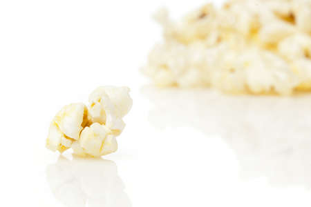 buttered: Crunchy white buttered popcorn that is salted Stock Photo