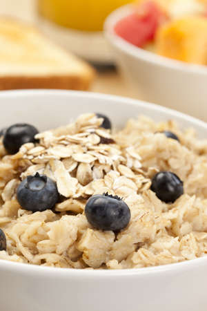 Organic Cooked oatmeal with blueberries for breakfast Stock Photo - 14230560