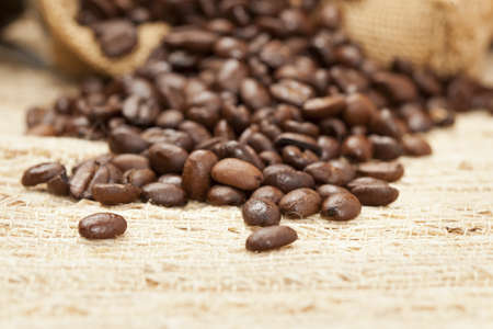 Black Organic Coffee Beans on a background Stock Photo - 14228866