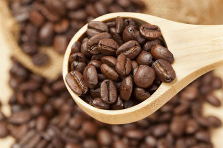Black Organic Coffee Beans on a background photo