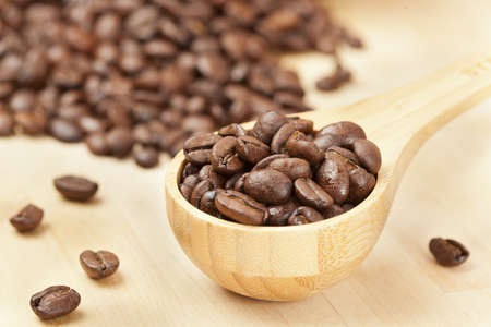 Black Organic Coffee Beans on a background Stock Photo - 14230565