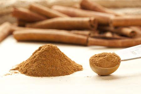 cinnamon stick: Fresh Organic Cinnamon against a back ground Stock Photo