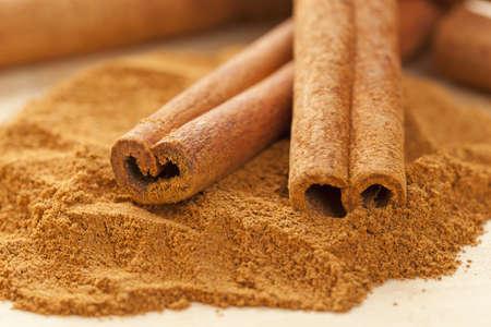 cinnamon bark: Fresh Organic Cinnamon against a back ground Stock Photo