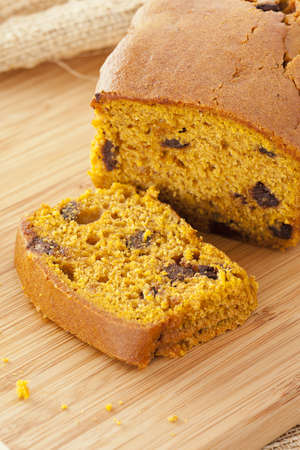 Fresh Homemade Chocolate Chip Pumpkin Bread ready to eat photo