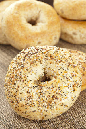 bagel: Homemade Fresh Whole Grain Bagels on a background