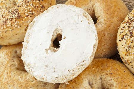 bagel: Homemade Fresh Whole Grain Bagel with cream cheese