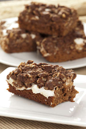 marshmellow: Homemade Chocolate Marshmellow Brownies on a background