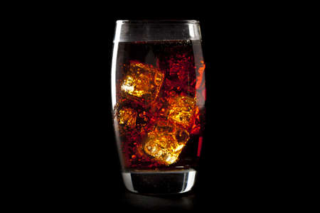 fizzy: Refreshing Brown Soda with Ice on a background
