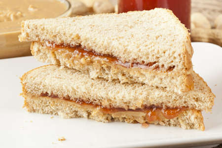 Fresh Homemade Peanut Butter and Jelly Sandwich photo