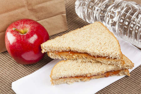 peanut butter and jelly sandwich: Peanut Butter and Jelly Sack Lunch with water and apple