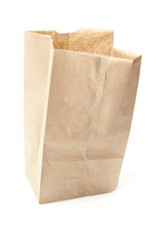 Brown Paper Bag Sack Lunch on a background  photo