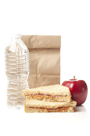 pb: Peanut Butter and Jelly Sack Lunch with water and apple