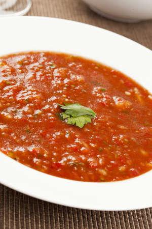 gaspacho: Fresh Homemade Cold Gazpacho Soup made with tomato