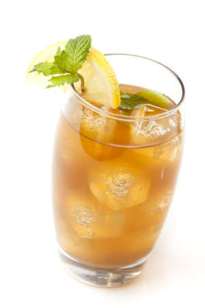 Refreshing Iced Tea with Lemon against a background photo