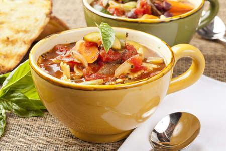 hot soup: Hot Homemade Minestrone Soup with fresh vegetables