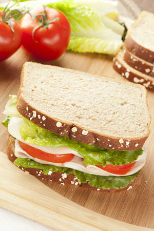 deli meat: Fresh Homemade Turkey Sandwich made with organic ingredients Stock Photo