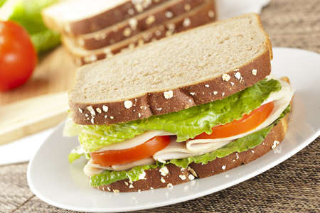 Fresh Homemade Turkey Sandwich made with organic ingredients Stock Photo