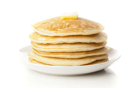 hotcakes: Fresh Homemade Pancakes with Syrup on a background