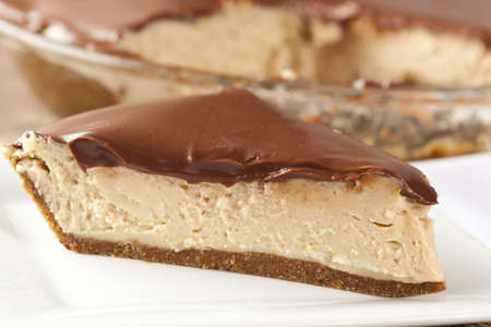 cream pie: Gourmet Peanut Butter Pie on a background