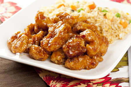 Homemade Orange Chicken with Rice on a background Stock Photo - 15115909