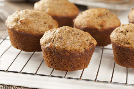 bran: Fresh Homemade Bran Muffins made with Whole Wheat Stock Photo