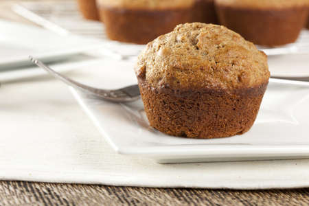 Fresh Homemade Bran Muffins made with Whole Wheat Stock Photo