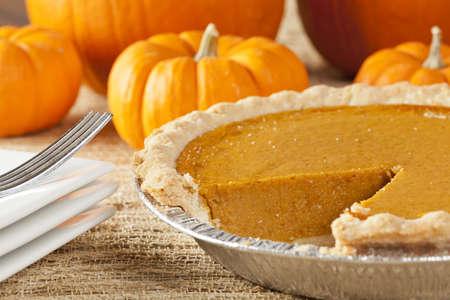 pumpkin pie: Fresh Homemade Pumpkin Pie made for Thanksgiving Stock Photo