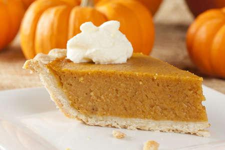 pie: Fresh Homemade Pumpkin Pie made for Thanksgiving Stock Photo