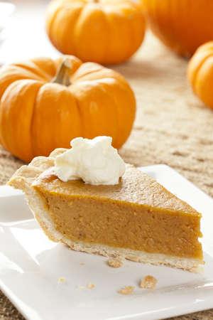 indian thanksgiving: Fresh Homemade Pumpkin Pie made for Thanksgiving Stock Photo
