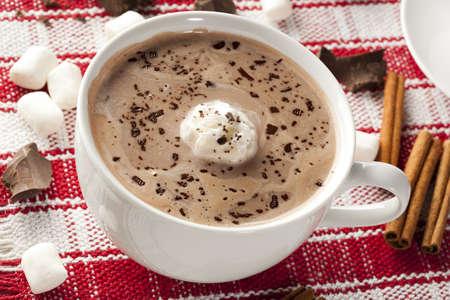 marshmellow: Gourmet Hot Chocolate with marshmellows and cinnamon Stock Photo