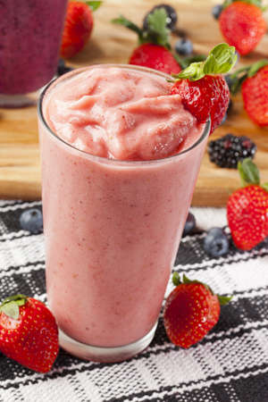 fruit shake: Organic Strawberry Smoothie made with fresh Ingredients Stock Photo