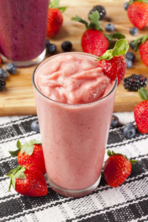 Organic Strawberry Smoothie made with fresh Ingredients Reklamní fotografie
