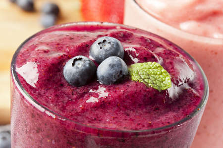 Organic Blueberry Smoothy made with fresh ingredients photo