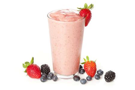 licuado de platano: Organic Strawberry Smoothie hecho con ingredientes frescos