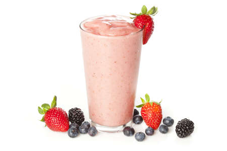 berry: Organic Strawberry Smoothie made with fresh Ingredients Stock Photo