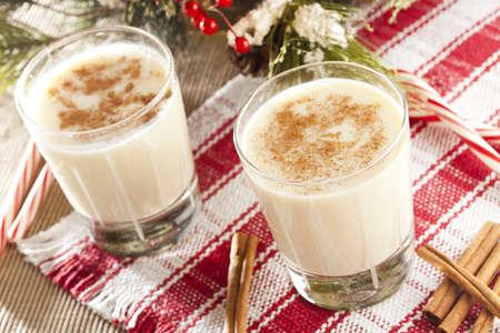 eggnog: EggNog festiva blanca con canela para las fiestas Foto de archivo