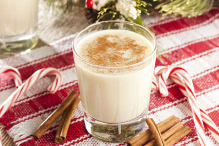 Festive White EggNog with Cinnamon for the Holidays