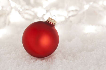 Shiny Red Christmas Ornament ready for the Holidays Stock Photo