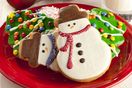 Festive Christmas Cookie in the shape of a snowman photo
