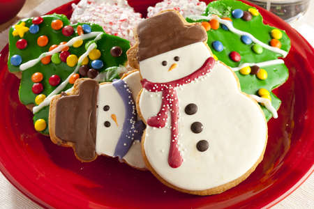 gingerbread cookies: Festive Christmas Cookie in the shape of a snowman