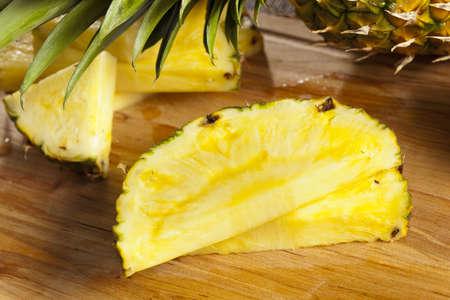 Fresh Yellow Organic Pineapple cut into slices