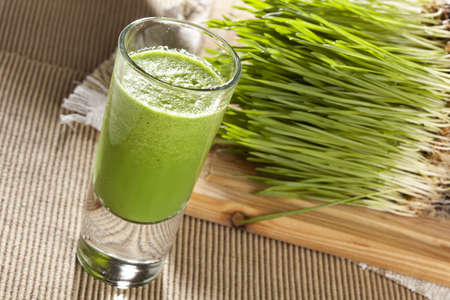 detox: Green Organic Wheat Grass Shot ready to drink Stock Photo