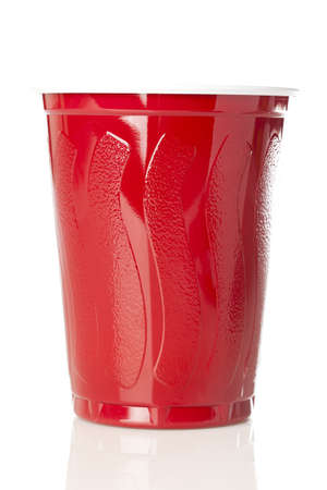 plastic cup: Beer in a Disposable Red Cup at a party
