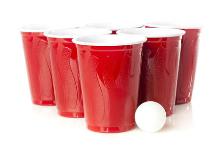 pong: Red Beer Pong Cups ready to play a game