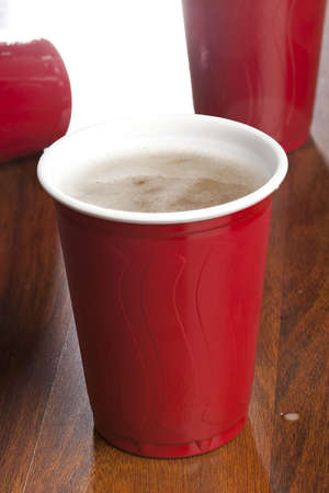 Beer in a Disposable Red Cup at a party