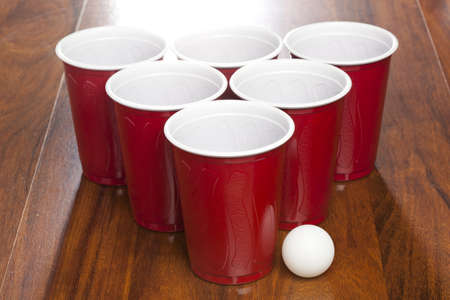 Red Beer Pong Cups ready to play a game photo